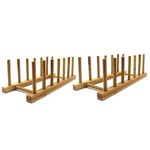 INNERNEED Bamboo Wooden Plate Racks Dish Stand Holder Kitchen Storage Cabinet Organizer for Dish / Plate / Bowl / Cup / Pot Lid / Cutting Board (Pack of 2)