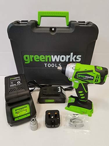 Greenworks Akku-Schlagschrauber, 24V, bürstenloser Motor, mit Akkus, Ladegerät und Koffer