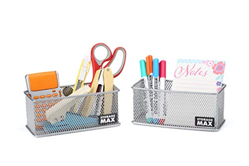 StorageMax Wire Mesh Magnetic Baskets for Refrigerator, Whiteboard, Office Cabinet and School Locker, Now with 6 Extra Strong Magnets, 2-Pack (Silver)