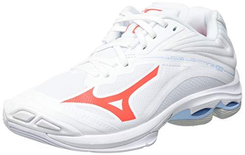 Mizuno Damen Wave Lightning Z6 Volleyball-Schuh, White/IgnitionR/Bluebell, 44 EU