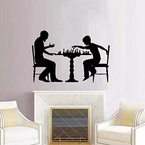 AGjDF Juego de ajedrez Pegatinas de Pared de Vinilo decoración Interior del hogar ajedrez y calcomanías de Pared para niños extraíble Juego de ajedrez Arte de Pared Mural -42x28cm
