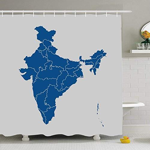 N\A Duschvorhang Set mit Haken Grafikkarte Konzept Indien Weltzeichen Weiß Kartographie Symbole Nation Umriss Texturen Kontur Wasserdichtes Polyestergewebe Bad Dekor für Badezimmer