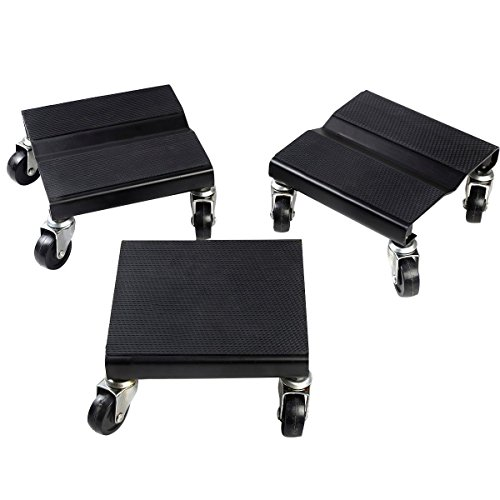 USA_Best_Seller 1500 LBS Black Snowmobile Roller Set 3 PCs Dolly Storage Dollies Mover Snowmobile New Steel PP Garage Home Car Auto Kitchen Useful