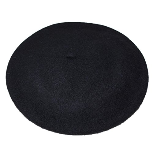 JOYHY Damen Solide Klassisch Französisch Stil Baskenmütze Mütze Hut Schwarz
