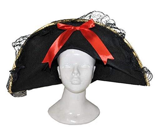 Fiesta Palace - chapeau pirate en feutrine pour femme avec dentelles et rubans