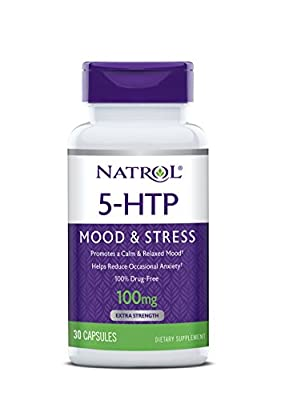 Natrol 5-HTP Time Release Capsules, Promotes a Calm Relaxed Mood, Helps Maintain a Positive Outlook, Enables Production of Serotonin, Drug-Free, Controlled Release, Maximum Strength, 100mg, 30 Count