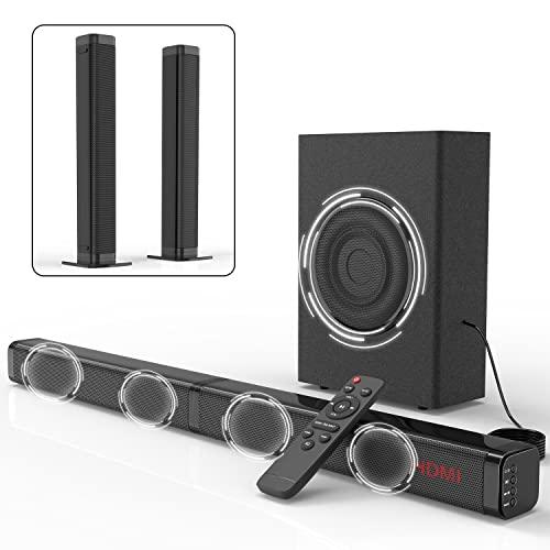 2.1 Soundbar für TV Geräte mit Subwoofer 120W 3D Surround Sound Lautsprecher TV Speaker DSP, HDMI ARC, Bluetooth, USB, Opt, COA, AUX und RCA Anschluss, abnehmbares 2-in-1-Design, 10 EQ-Modi