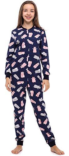 Merry Style Mädchen Jugend Schlafanzug Strampelanzug Schlafoverall(Marineblau/Teddybär, 158)