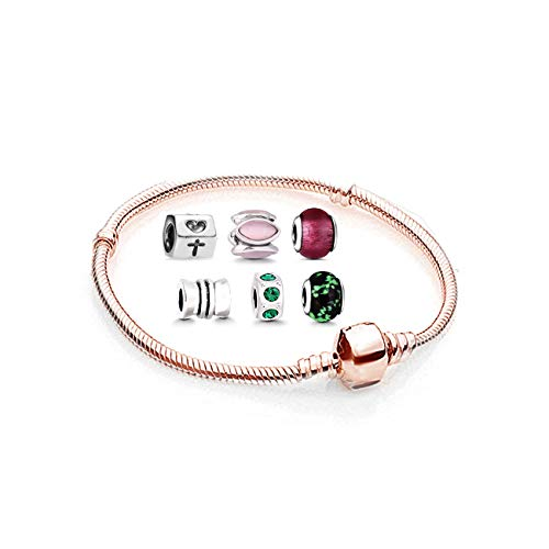 Damen Armband mit Charm Starter Set - Beads Perle Anhänger Edelstahl Armreif Pandora style Charms kompatibel R2-B-165-630-135-316-96-32 Rosegold 22cm