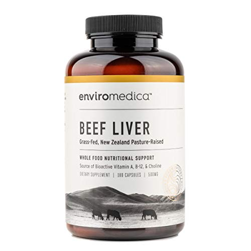 Enviromedica Freeze Dried Beef Liver Natural Energy Supplement Capsules of Pure Grass-Fed, Pastured, New Zealand Bovine with Preformed Vitamin A (180ct)
