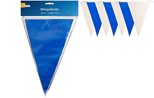 Heku NEU Wimpelkette blau-weiß aus Kunststoff, 10 m
