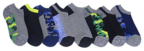Stride Rite Boys' Big 8-Pack No Show, camo athletic/assorted colors, Sock: 8-9.5 / Shoe: 13-4