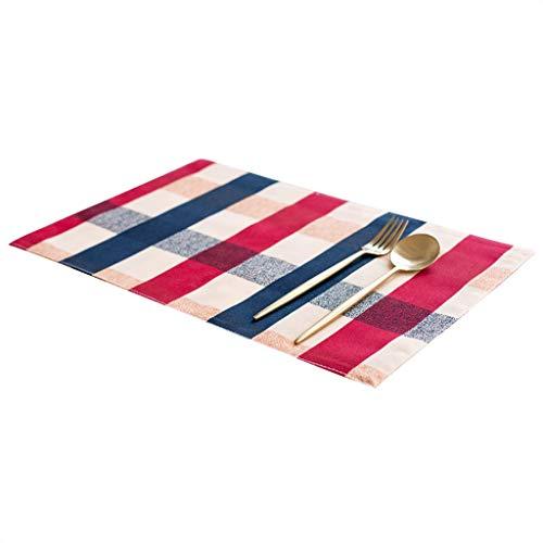Hiibu Servietten Doppelschicht Isolierauflagen Wasserdichtes Tischset Rutschfeste Matte Baumwolle und Leinen Tischdecke Schüssel Mat Coaster Tuch 45 × 30 cm