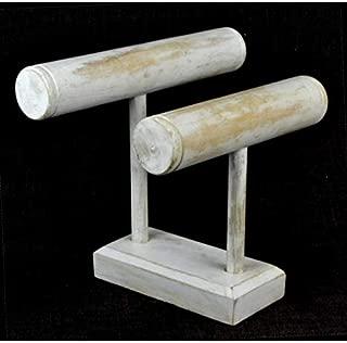 Expositor de pulseras y relojes con 2 troncos de madera maciza de blanco lacado