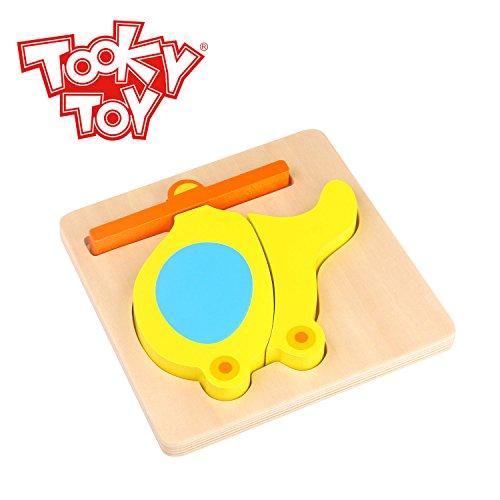 Tooky Toy Jeux en bois - multicolore Puzzle Hélicoptère bois