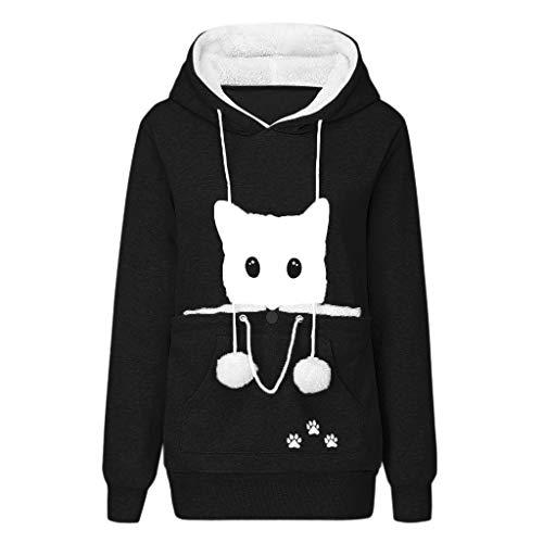 HOTHONG -Femme Sweat-shirts Top Pull à Capuche Hauts Chemisier Pochette Animale Pullover Vetement Imprimé Chat Pas Cher Manteau Hiver Chaud Tops