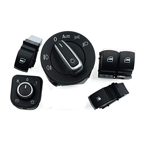 BotóN De Interruptor De Coche 5pcs / Set del Cromo del Coche de la Linterna Espejo de la Ventana de Combustible Interruptores/for VW/Fit for el Golf/Ajuste for GTI (Color : Black)