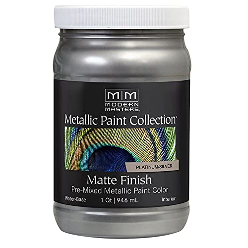 1 qt Modern Masters MM591 Platinum/Silver Metallic Paint Collection Water-Based Decorative Metallic Paint Pack of 1