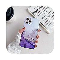 Josms for iPhone 12 11 Pro Max XR XS Max Mini 7 8Plusマットマーブル耐衝撃ソフトTpuバックカバー用のカラフルな大理石の電話ケース-white purple-for ip 12 mini