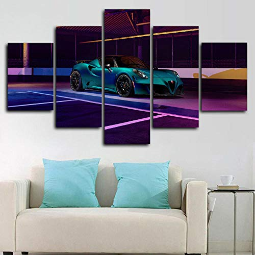 VYQDTNR - 5 Piece Canvas Wall Art 3D Printed Pogea Racing Zeus Sports Car Painting Picture Poster Artwork for Living Room Bedroom Office Home Decoration Ready to Hang, Inner Framed