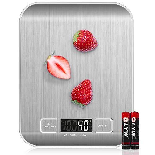 Wodgreat Báscula de Cocina, Balanza de Alimentos Multifuncional 5kg / 11 lbs Bascula Digital de Alta Precision, Báscula Cocina de Acero Inoxidable Peso Cocina con Pantalla LED, Función de Tara