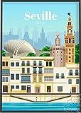 Cartel impreso moderno de la ciudad española de Valencia Sevilla, decoración mural de Berlín Bruselas Canadá, cartel de viaje de Miami Melbourne Phoenix 40 * 60 sin marco