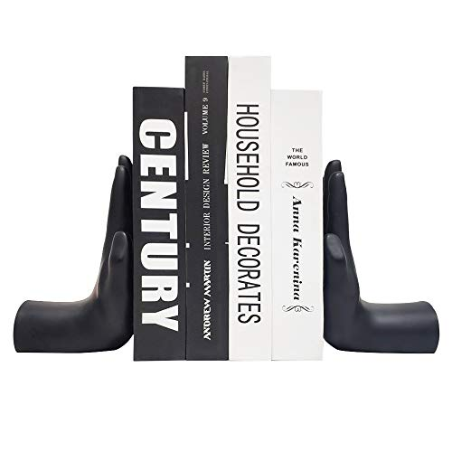 Hand Bookends, Universal Economy Decorative Bookends, Heavy Book Ends Supports for Books, 8.5x6.8x3.5 inch, Black,1Pair/2Piece (Hand Bookends)