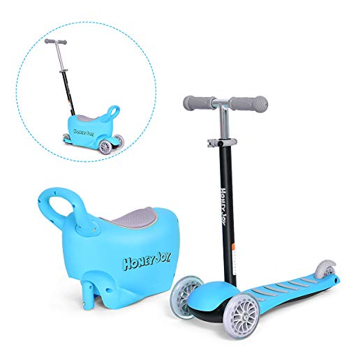 Costzon 3-in-1 Scooter for Kids with Ride On Tricycle, Parental Push Tricycle, Removable Seat/Handle, Great for Kids & Toddlers Girls or Boys – Adjustable Height w/Large Storage Space (Blue)