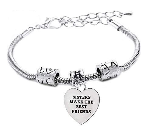Armband - zussen maken de - armband - motiverende - hanger - zussen zijn beste vrienden - man - unisex - vrouw - zilveren feestje - sieraden best friends
