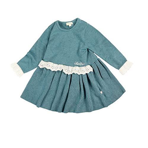 felix & mina gebreide jurk met lange mouwen en kant