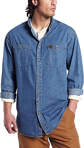 Wrangler Riggs Workwear mens Denim Work Shirt ,Antique Navy ,Large