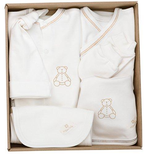 The Dida World Newborn - Conjunto recién nacido de algodón orgánico, 6 piezas, talla 0 meses, oso estampado marrón