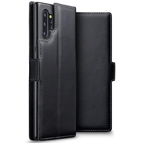 TERRAPIN, Kompatibel mit Samsung Galaxy Note 10 Plus Hülle, Premium ECHT Spaltleder Flip Handyhülle Samsung Galaxy Note 10+ Hülle Tasche Schutzhülle, Schwarz