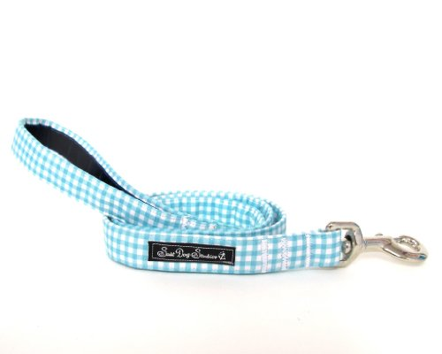 Zout Hond Studios Baby Blauw Gingham Hond Lead, 1