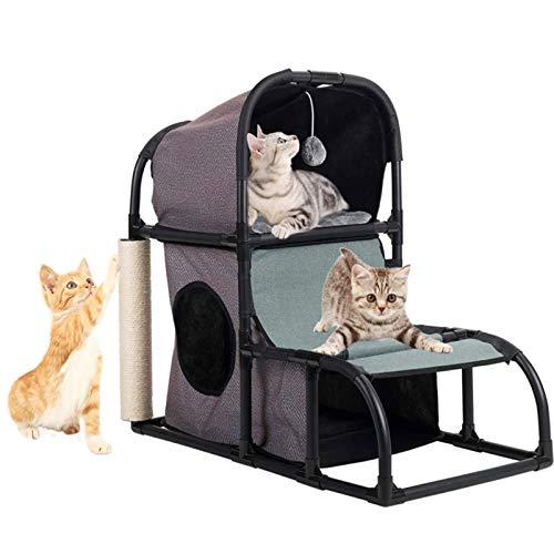 LXBH Árbol para Gatos Multifuncional 4 En 1, Postes Rascadores Súper Estables para Gatos En Forma De Torre, Cubiertos De Sisal, Combinados con Un Juguete Colgante con Orificios para Escalar Gatos