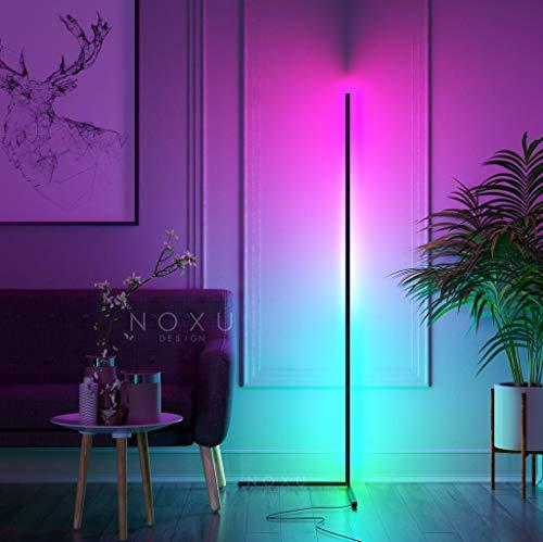 Lampara de Pie Kōnā | Lámpara de pie con Luces LED RGB | Cambia Color con Control Remoto | Tamaño: 140 cm de altura | Color Negro | Estilo Minimalista, Nordico | Lámpara de Esquina