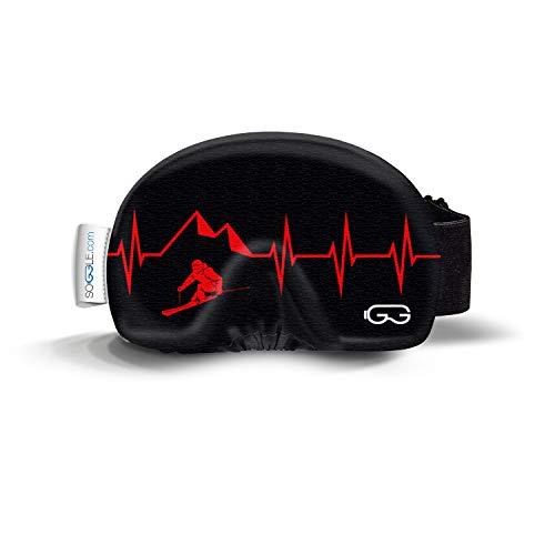SOGGLE Heartbeat Skier 3 - Funda protectora para gafas de esquí (microfibra, talla única), color negro