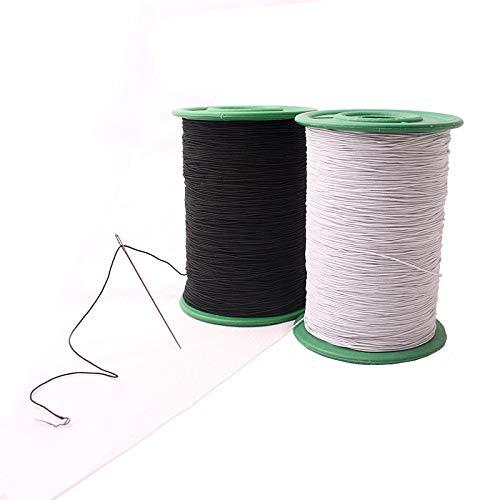 CHENGYIDA Hilo elástico blanco y negro para ropa, accesorios de tela, bricolaje, industria de máquinas, carrete de hilo elástico de coser, hilo elástico de 547 yardas, paquete de 0,5 mm de grosor