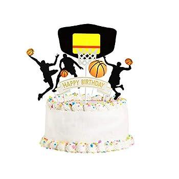 Happy Birthday basketball Cake Topper Birthday Cake Topper Birthday Decorations Happy Birthday Cupcake Topper Glitter Gold Decoration