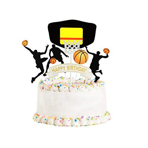 Happy Birthday basketball Cake Topper Birthday Cake Topper Birthday Decorations, Happy Birthday Cupcake Topper, Glitter Gold Decoration