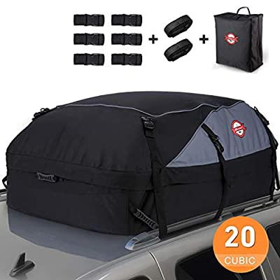 Housewives 20 Cubic ft Car Roof Bag Top Carrier Cargo Storage Rooftop Luggage Waterproof Soft Box Luggage Outdoor Water Resistant for Car with Racks,Travel Touring,Cars,Vans, Suvs