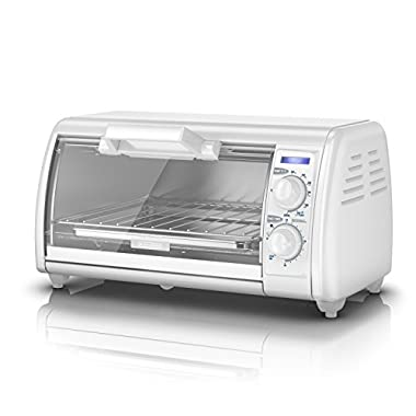 BLACK+DECKER 4-Slice Toaster Oven, White, TRO420