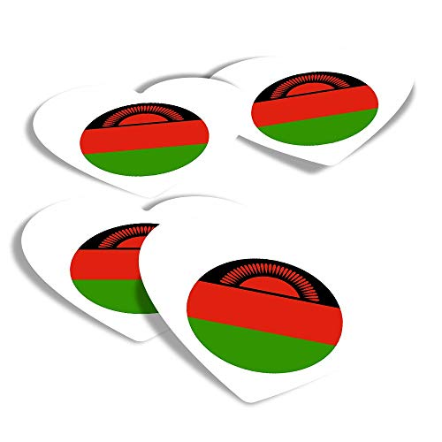 Vinyl Heart Stickers (Set of 4) - Malawi East Africa Lilongwe Travel Fun Decals for Laptops,Tablets,Luggage,Scrap Booking,Fridges #9157