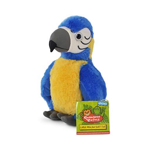 Endangered and Extinct Juguetes de guacamayo azul con etiqueta educativa, regalo para niños, 20 cm, juguete de loro de peluche