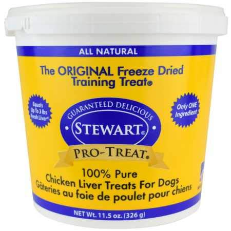 Stewart Pro-Treat, Freeze Dried Chicken Liver Dog Treats, Single Ingredient, Grain Free, USA Made, 11.5 oz. Resealable Tub