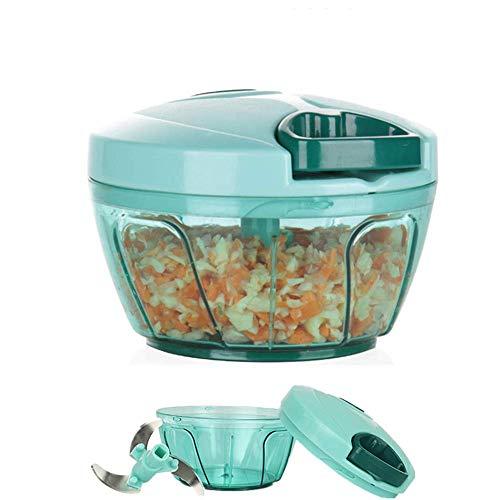 Mini tritatutto manuale per verdure, trituratore manuale per alimenti, con ciotola e lama rimovibile, materiale di sicurezza alimentare senza BPA (blu)