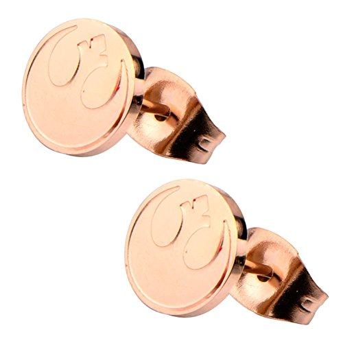Official Stainless Steel Rose Gold Rebel Alliance Logo Stud Earrings