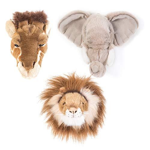 Linnea - Peluche trofeo mini 3 cabezas pequeñas, colección Safari