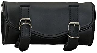 Synthetic Black Leather Plain 2 Quick Release Buckle Motorcycle Tool Bag