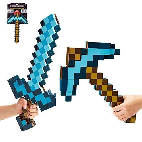 2-in-1-Transformationsschwert und Spitzhacke. Blue Toy Diamond Sword & Pickaxe-Set, 2-in-1-Spitzhacke aus verformtem Kunststoff (52 cm) (42 cm), Rollenspiel- und Transformationsspielzeug, Waffenstüt